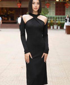 Váy dự tiệc đen kiểu cổ yếm khoét vai gợi cảm - DN515