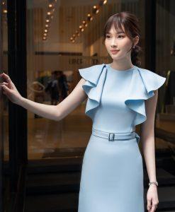 Váy dự tiệc xanh bèo vai ôm body nhẹ nhàng - DN511