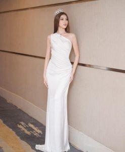 Đầm dạ hội dài thiết kế lệch vai ôm dáng - D606