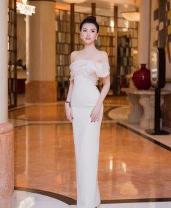 Đầm dạ hội dài trắng thiết kế trễ vai siêu sexy - D610