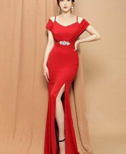 Đầm dạ hội ôm thiết kế hai dây xẻ tà cao sexy - D614
