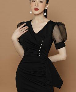 Đầm dạ hội ôm thiết kế tay lưới xẻ tà cao - D613