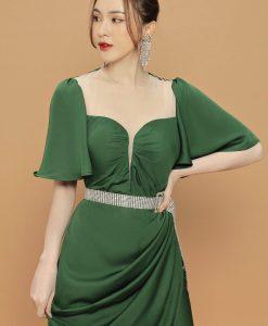 Đầm dạ hội tay cánh tiên xẻ tà cao sang trọng - D609
