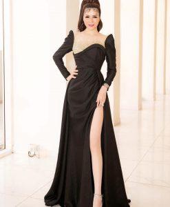 Váy dạ hội đen thiết kế dáng xoè kết ren sang trọng - D616
