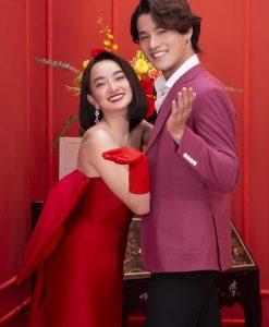 Váy dạ hội đỏ kiểu cúp ngực xẻ tà cao tôn dáng - D611