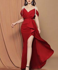 Váy dạ hội hai dây thiết kế xếp ly eo quyến rũ - D607