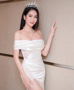 Váy dạ hội trắng kiểu trễ vai phối ren quyến rũ - D608