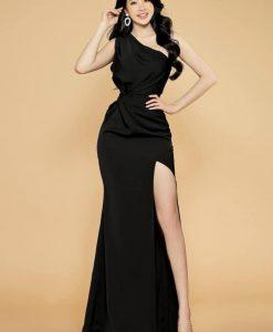 Váy dài dự tiệc thiết kế xoắn eo xẻ đùi cao sexy - D612