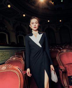 Đầm dạ hội cổ vest thiết kế tay dài sang trọng - D617
