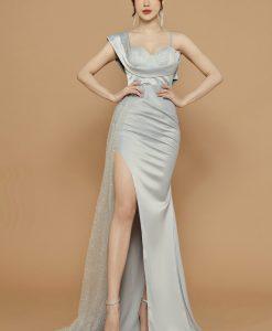 Váy dạ hội ôm kiểu hai dây xẻ tà ren cao sexy - D618