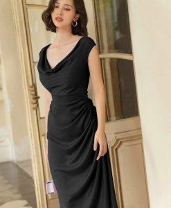 Váy dự tiệc lụa satin thiết kế xoắn eo dễ thương - DN530